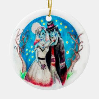 Blaue Zombie-Mitternachtshochzeit Keramik Ornament