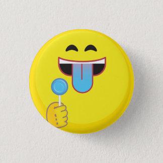 Blaue Zunge Emoji Runder Button 3,2 Cm