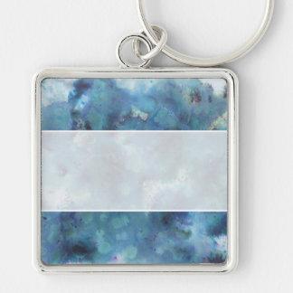 Blaue Zusammenfassung Silberfarbener Quadratischer Schlüsselanhänger