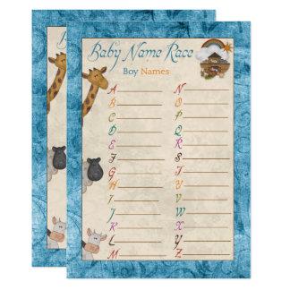 Blauen Noahs Arche-Namen-Rennen-Babyparty-Spiele Karte