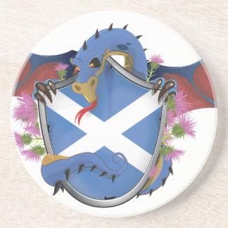 Blauen schottischen Drache-St Andrew Kreuz Sandstein Untersetzer