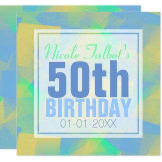 Blauer abstrakter Pastell 50. Geburtstag Quadratische 13,3 Cm Einladungskarte