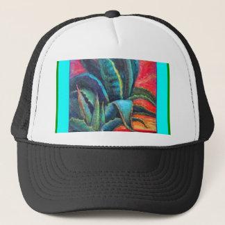 Blauer Agaven-Kaktus-Sonnenaufgang durch Sharles Truckerkappe