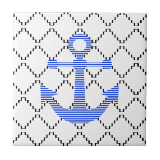 Blauer Anker - abstraktes geometrisches Muster - Keramikfliese