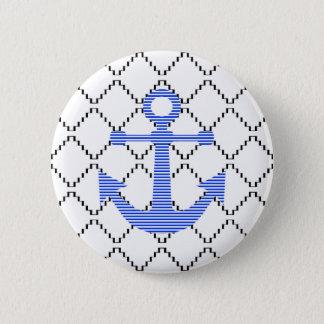 Blauer Anker - abstraktes geometrisches Muster - Runder Button 5,1 Cm
