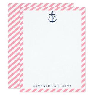 Blauer Anker auf Rosa Stripes mit Monogramm 10,8 X 14 Cm Einladungskarte