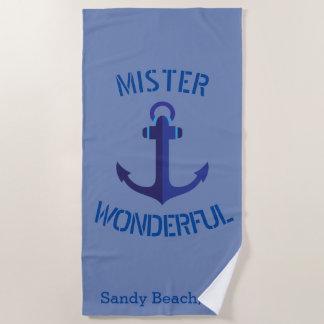 Blauer Anker HERR wunderbares Seethema Strandtuch