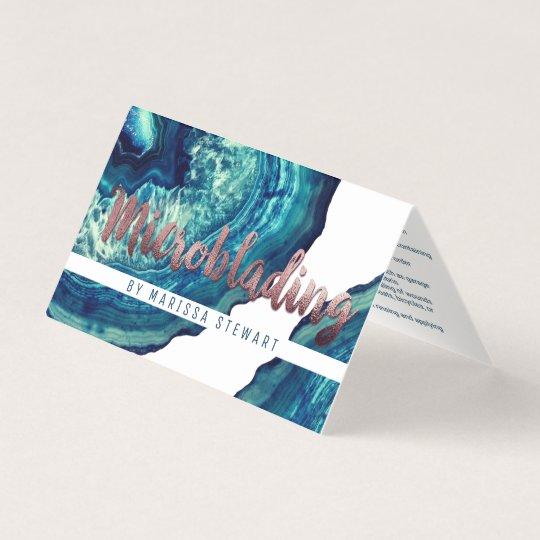 Blauer Aquamariner Achat Geode Steinrosen Gold Visitenkarten