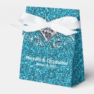 Blauer aquamariner Glitzer-Silber Bling Geschenkschachtel