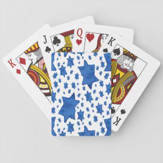 Blauer Aquarell-Davidsstern Spielkarten