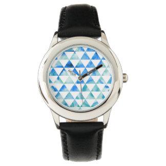 Blauer Aquarell-Dreieck-Entwurf Armbanduhr