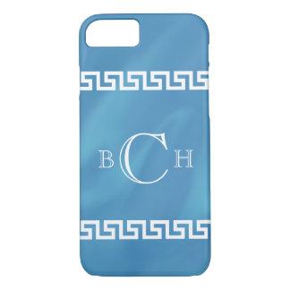 Blauer Aquarell-Grieche-Schlüssel iPhone 8/7 Hülle