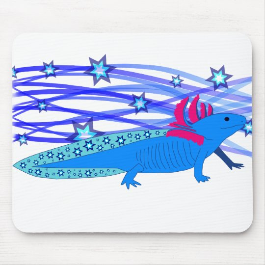 Blauer Axolotl mit Sternen Mousepads