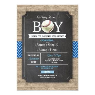 Blauer Baseball-Babyparty-Junge trägt Holz 12,7 X 17,8 Cm Einladungskarte
