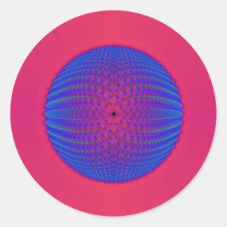 Blauer Bereich auf rosa rundem Aufkleber