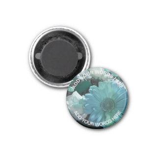 Blauer Blumen-Blumenstrauß: Personalisierter Runder Magnet 2,5 Cm