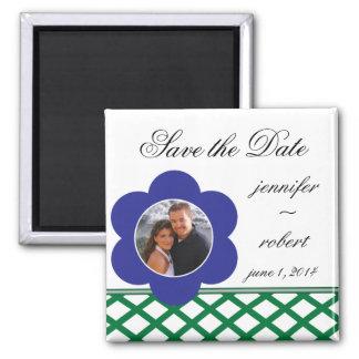 Blauer Blumen-Foto-Rahmen Save the Date Quadratischer Magnet