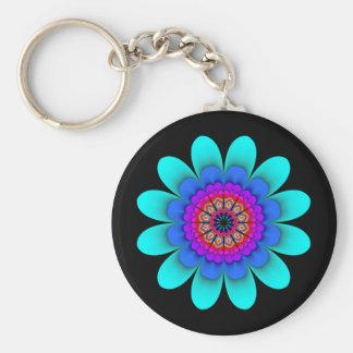 Blauer Blumen-Power Keychain auf Schwarzem Schlüsselanhänger