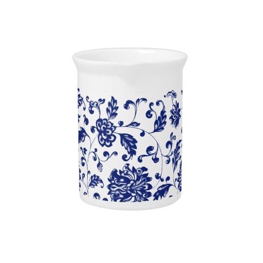 Blauer Blumenkrug Getränke Pitcher