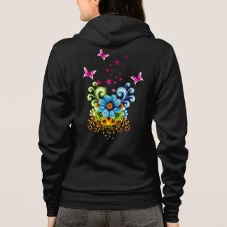 Blauer BlumenzipHoodie Hoodie