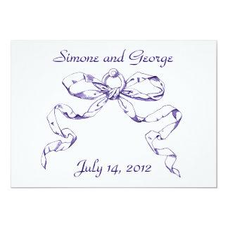 Blauer Bogenswag-Vintage Art-Hochzeits-Einladungen 12,7 X 17,8 Cm Einladungskarte