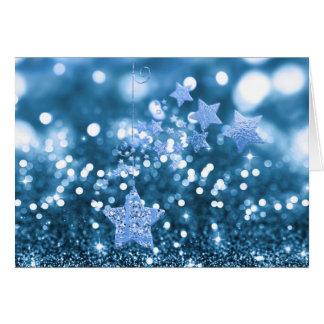 Blauer Bokeh Imitat-Glitter u. Sterne Karte
