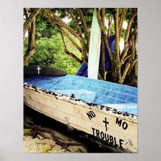 Blauer Boots-Strand-Ozean-Seeplakat-Druck Poster