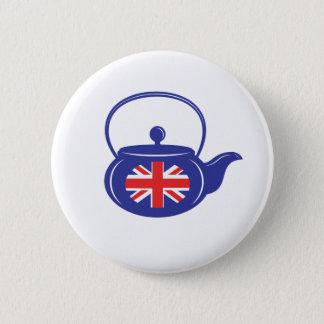 Blauer BRITISCHER Teekanne-Knopf Runder Button 5,1 Cm