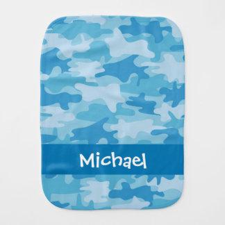 Blauer Camouflage-Tarnungs-Name personalisiert Baby Spucktuch