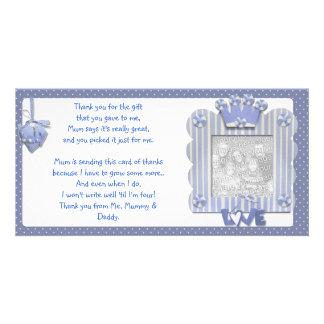 Blauer candystripe Rahmen danken Ihnen, vom Baby z Individuelle Foto Karte