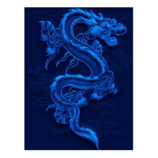 Blauer chinesischer Drache Postkarten