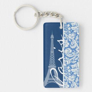 Blauer Damast; Paris Schlüsselanhängern