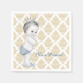 Blauer Damast-Prinz Babyparty Papierserviette