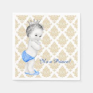 Blauer Damast-Prinz Babyparty Servietten