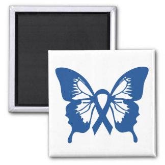 Blauer Darmkrebs-Schmetterlingsquadratmagnet Quadratischer Magnet