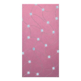 Blauer Diamant genäht auf rosa Leder Personalisierte Photo Karte