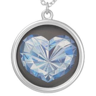 Blauer Diamantkollier Versilberte Kette