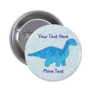 Blauer Dino-Knopf Runder Button 5,7 Cm