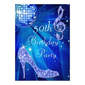 Blauer Disco-Ball und Heels-50. Geburtstag 12,7 X 17,8 Cm Einladungskarte