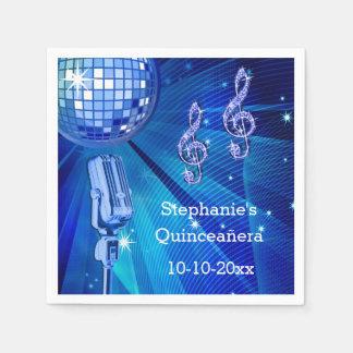 Blauer Disco-Ball und Retro Mikrofon Quinceañera Papierservietten