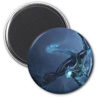 Blauer Drache-Cartoon-Schuft Magent Runder Magnet 5,1 Cm