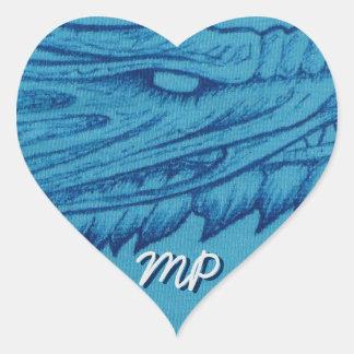 Blauer Drache-Kopf Herz-Aufkleber