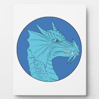 Blauer Drache-Kopf-verärgertes Kreis-Zeichnen Fotoplatte