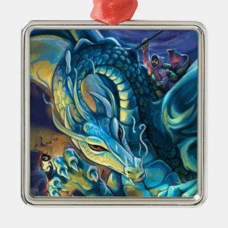 Blauer Drache-Reiter Quadratisches Silberfarbenes Ornament
