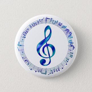Blauer dreifacher Clef mit Musiknoten Runder Button 5,1 Cm