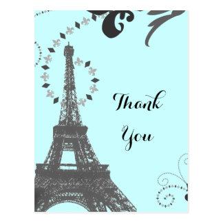 blauer Eiffel-Turm Vintages Paris danken Ihnen Postkarte