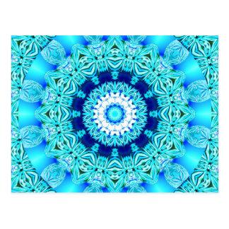 Blauer Eis-Engels-Ring, abstrakter Mandala Postkarte