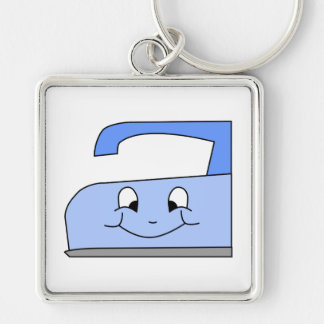 Blauer Eisen-Cartoon. Auf Weiß Silberfarbener Quadratischer Schlüsselanhänger
