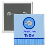 """Blauer Elefant """"Großmutter, zum Babyparty-Knopf zu Anstecknadelbuttons"""