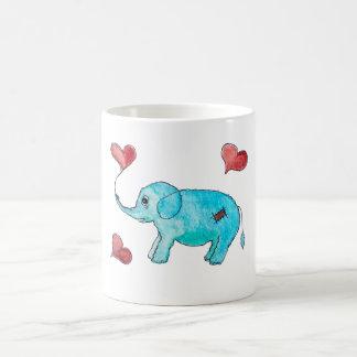 Blauer Elefant mit Herzen Kaffeetasse